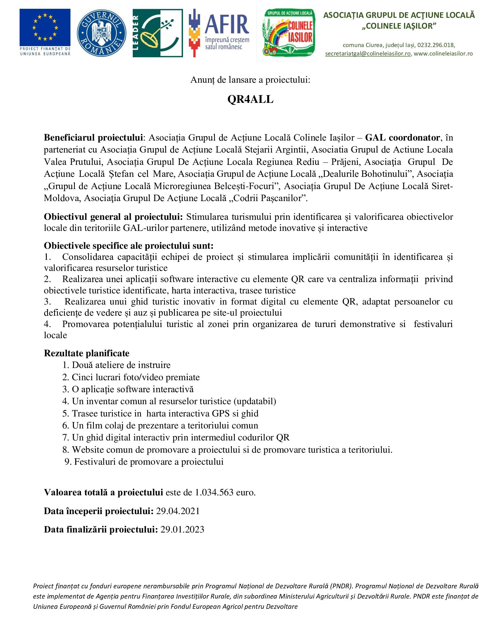 Proiecte cooperare - QR4ALL